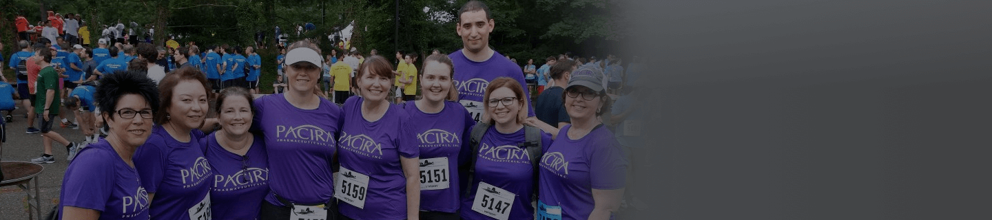 Pacira team members running a marathon together